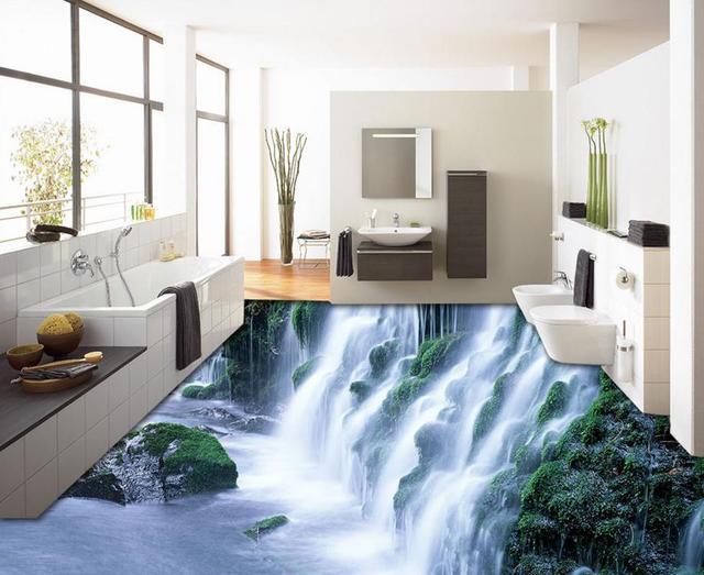 Custom High Quality Pvc Vinyl Flooring Wallpaper Waterfall Room Waterproof Floor Tiles