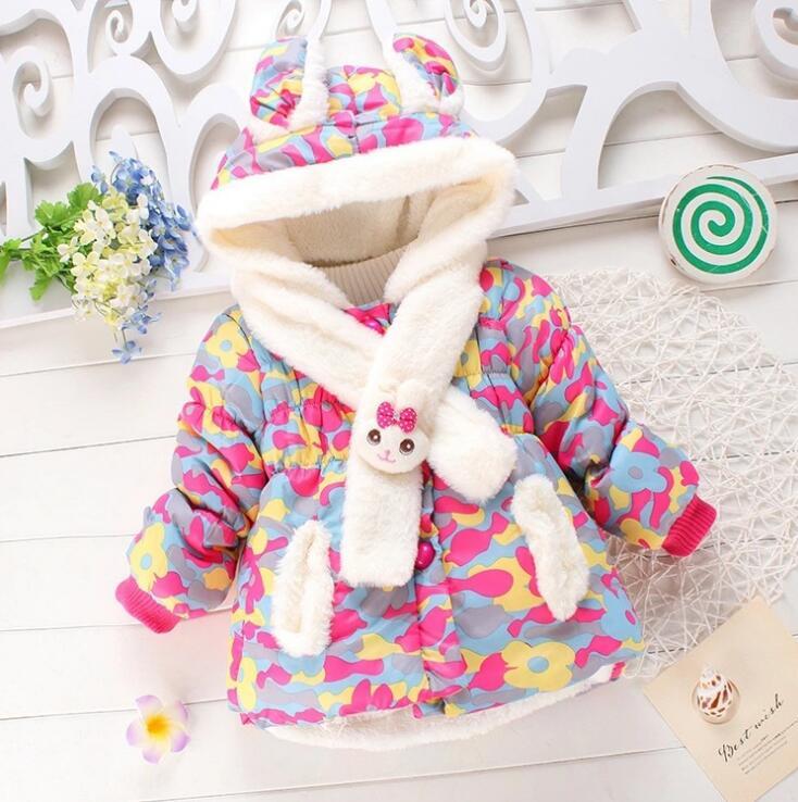 1-4 Jaar, Kinderen Kleding 2018 Nieuwe Baby Meisjes Winter Fashion Koreaanse Konijn Hooded Camouflage Kasjmier Warme Bovenkleding Jas Parka Kleuren Zijn Opvallend