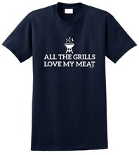 Graphic Shirts MenS Funny Crew Neck Short Sleeve All The Grills Love My Meat Bbq Barbeque  T Shirt