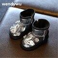 WENDYWU invierno niños marca glitter botas niño botas negras botas para niñas princesa de la manera niños botas de nieve caliente