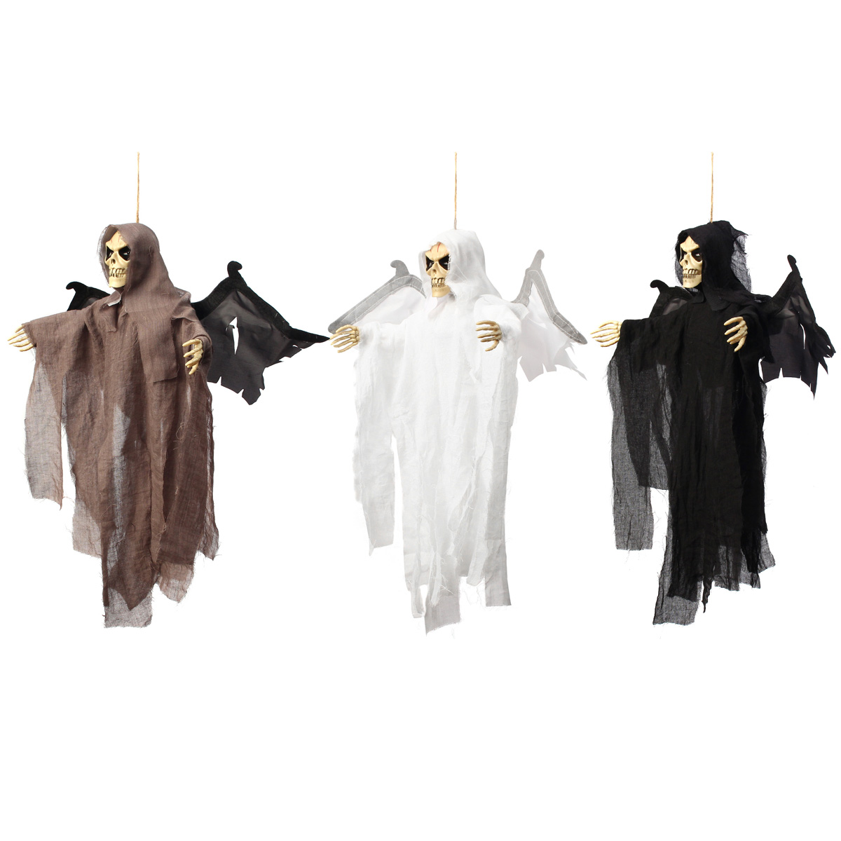 scary haunted halloween hanging ghost witch voice control devil skull cloak pendant halloween party events decoration - Halloween Hanging Decorations