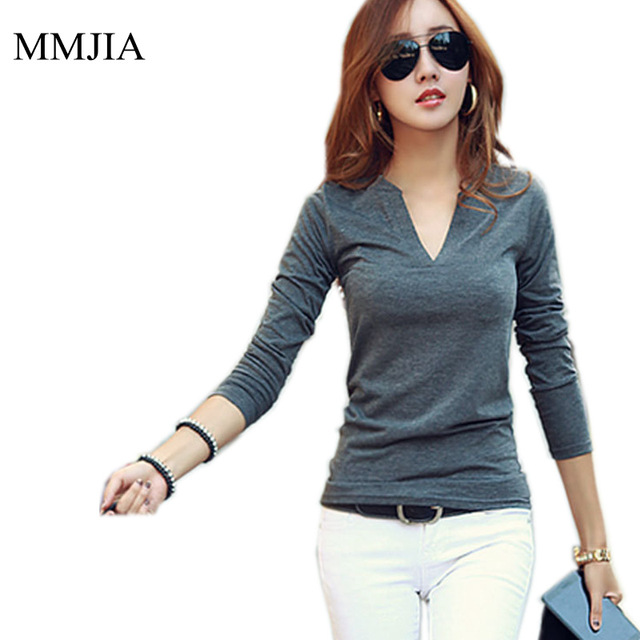 df2c68ccfb937 Black Long Sleeve V-Neck Women Tops 2018 New Fashion Korean Style Slim  Casual Body Blouses Shirts Solid Color Plus Size Blusas