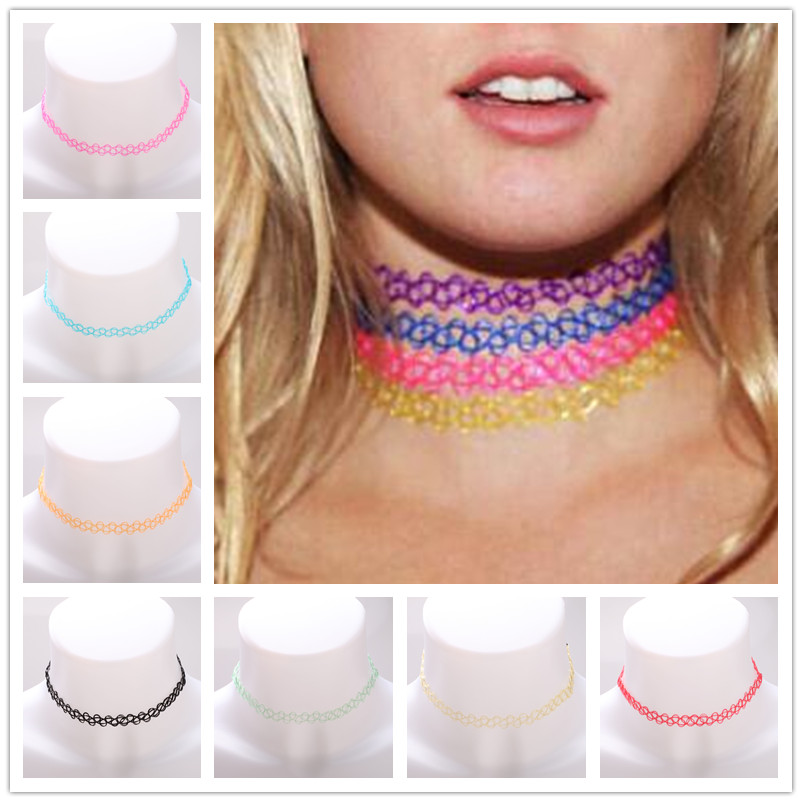 NK641 10 Colors Stretch Gothic Elastic Collares Tattoo Bijoux Black Hollow Punk Chokers Necklaces For Women Jewelry Statement