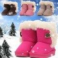 Nuevos 2016 Niños Botas de Invierno Gruesa Caliente Lovely Girls Zapatos de Gamuza de Algodón Acolchado Niñas Niños Botas Niños Botas de Nieve Zapatos de los niños