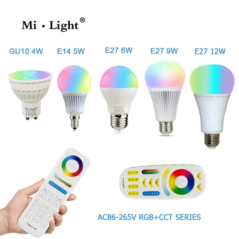 Smart bulbs Dimmable 2.4G led spot lamp 85-265V Mi Light Dimmable 110V 220V RGB+CCT E27 GU10 4W 5W 6W 9W 12W Smart LED Bulb dimmable mi light 2 4g gu10 5w color temperature adjustable dual white cw ww led bulb lamp ac85 265v 110v 220v wifi compatible