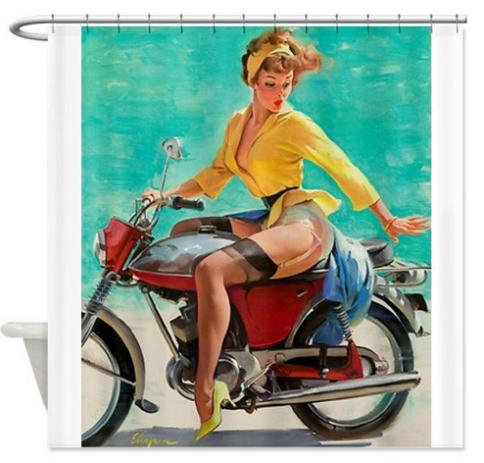 Free Shipping A Sexy Girl Ride Motorcycle Shower Curtain Bath High Quality Of