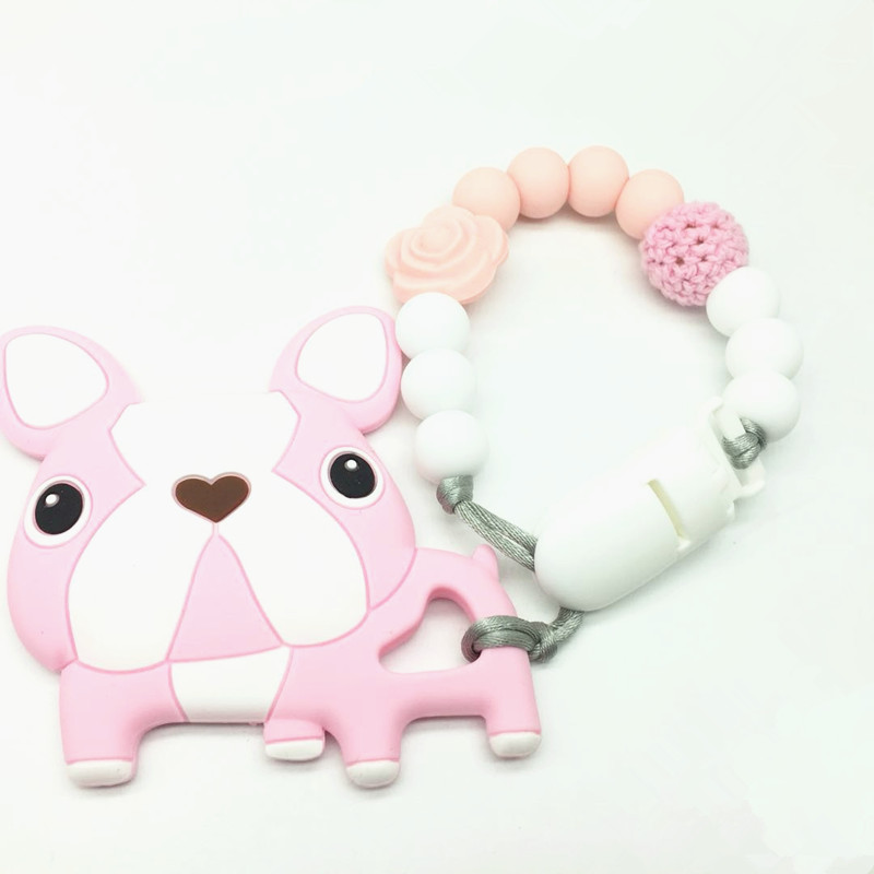 Baby Nursing Pendants Chew Silicone Beads Silicone French Bulldog ToysPacifier Clip Car Seat Toy DIY Crafts Teething Accessories