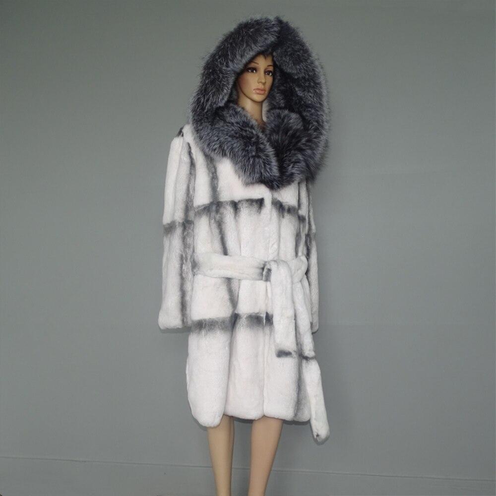 100 см длинные Silver Fox Мех животных пальто с капюшоном/имитация белый крест норки дизайн кролика рекс верхняя одежда пальт