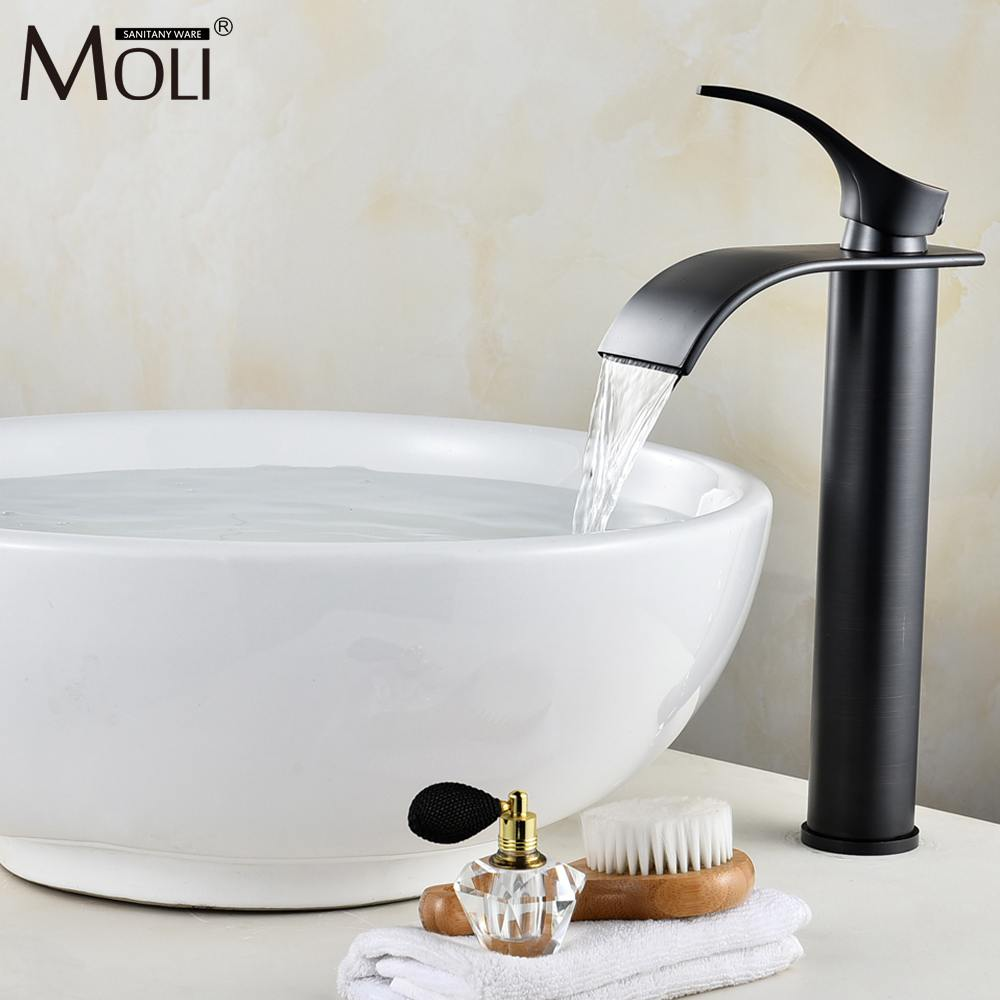 Black Tall Bathroom Basin Sink Faucet Waterfall Bathroom Basin Sink Mixer Tap Oil Rubble Bronze Faucets Hot and Cold Water flg basin faucets modern orb bathroom faucet waterfall faucets single hole cold and hot water tap basin faucet mixer taps