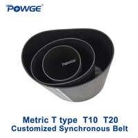 POWGE métrico T tipo T10 T20 paso sincrónico 10mm 20mm producción personalizada todo tipo de polea trapezoidal T10 T20 correa dentada