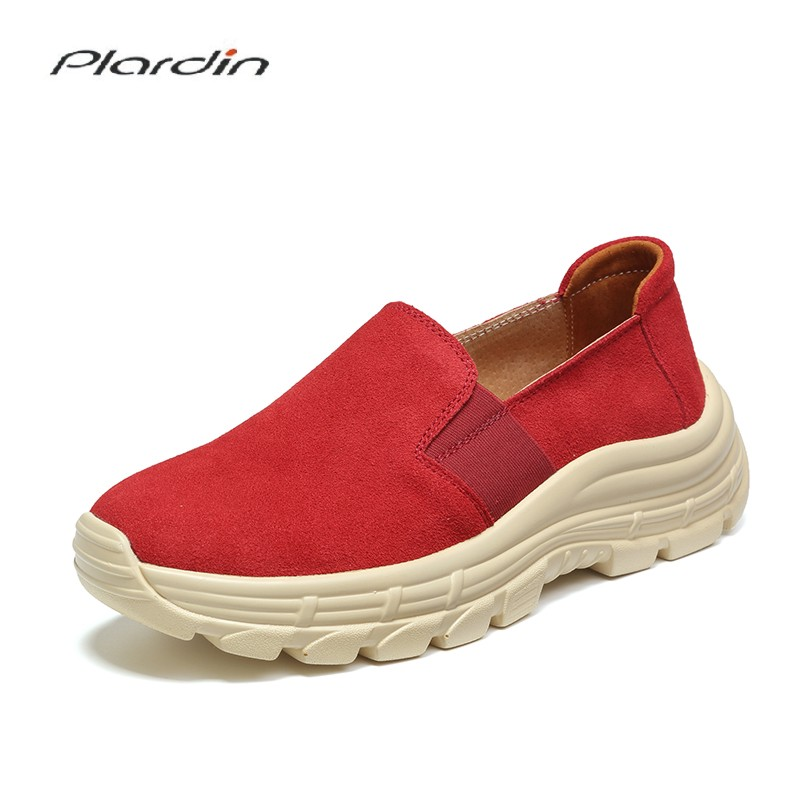 Plardin New Women Flats Platform Loafers Ladies   Suede     Leather   Moccasins Fringe Shoes Slip On Tassel Women's Casual Shoes Creeper