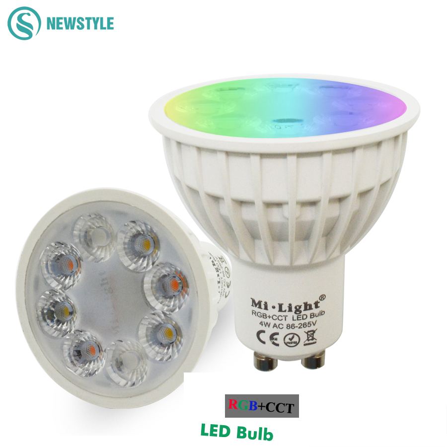 New Arrival Original Dimmable 2.4G Wireless Milight Led Bulb GU10 RGB+CCT Led Spotlight Smart Led Lamp Lighting AC86-265V dc12v 2 4g wireless milight dimmable led bulb 4w mr16 rgb cct led spotlight smart led lamp home decoration