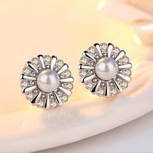 купить Fashion Silver Sunflowers Earrings for Women Jewelry Zircon Pearl Crystal Flower Geometry Stud Earrings For Women Statement дешево