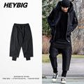 Fake doulble Layers Casual Trousers baggy Men solid pants Drawstrings hip hop Joggers Asian size HEYBIG youth streetwear
