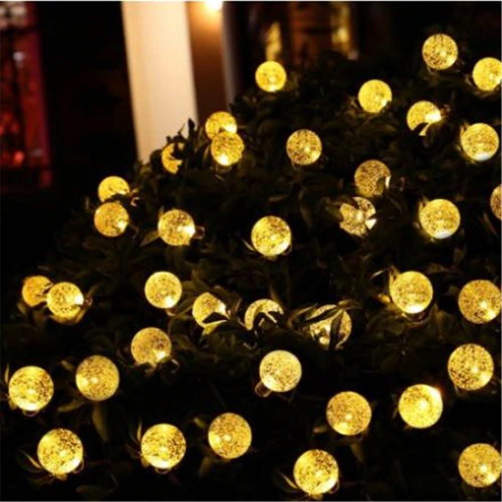 Kmashi String Lights 20Ft 6M 30LED Solar Powered Crystal Ball Light Outdoor  Lighting Garden Christmas Home Ball Lamp Warm White