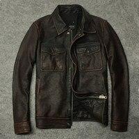 Retro Genuine Leather Jacket Men Short Cowhide Autumn Coat Real Cow Leather Jackets Indian Motorcycle Deri Ceket 1299 8 KJ2274