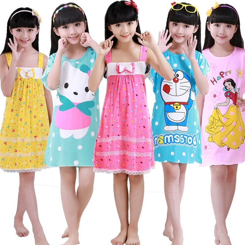 Korean Girl Night Skirt Summer Sling Pure Cotton Thin Section Girl Pajamas In Will Child Baby Princess Home Furnishing Serve girl pajamas winter thickening increase down korean new pattern lovely cartoon child children home furnishing suit 2 pieces kids