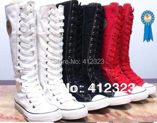 free shipping Lady Girl's Canvas Boots women  fashion Sneaker Knee High Shoes Gothic lace-up Boots