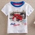 NEAT New 2016 free shipping baby boy clothes fashion male head car model t shirt 100% cotton short sleeve boy T-shirt S8111#