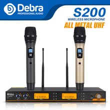 Debra S200 UHF Handheld Karaoke Microphone Wireless Professional System 2 Channel Frequency Adjustable Cordless For Karaoke xtuga ew240 4 channel wireless microphones system uhf karaoke system cordless 4 bodypack mic for stage church use for party