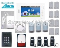 Hot sale Advanced 7 inch Touch Screen SMS GSM home alarm system with smart sensor smoke gas detector,App security alarm system