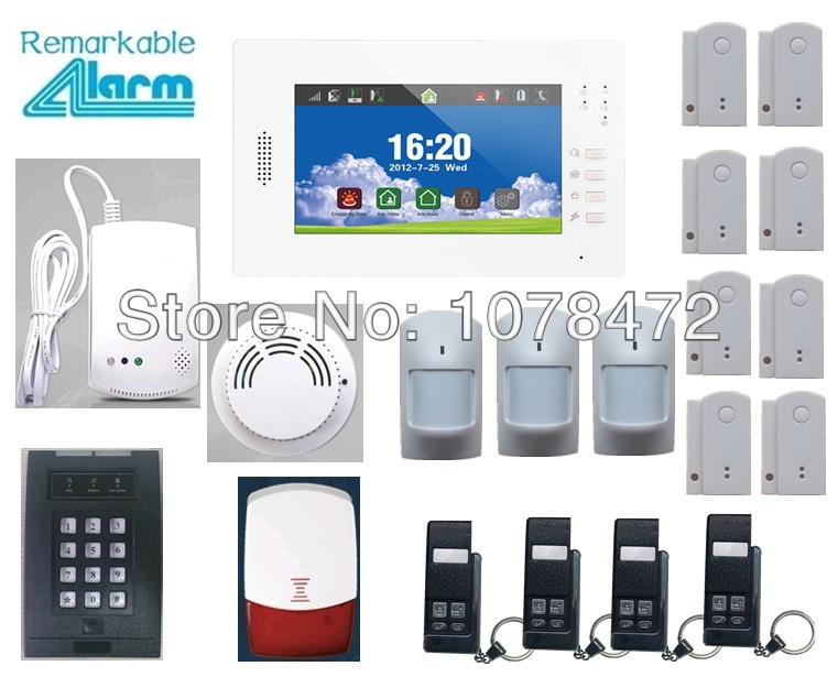 Hot sale Advanced 7 inch Touch Screen SMS GSM  home alarm system with smart sensor smoke  gas detector,App security alarm system сноуборд пластиковый с пластиковым креплением цикл 2289