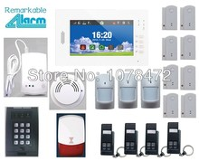 Hot sale Advanced 7 inch Touch Screen SMS GSM home alarm system with smart sensor smoke