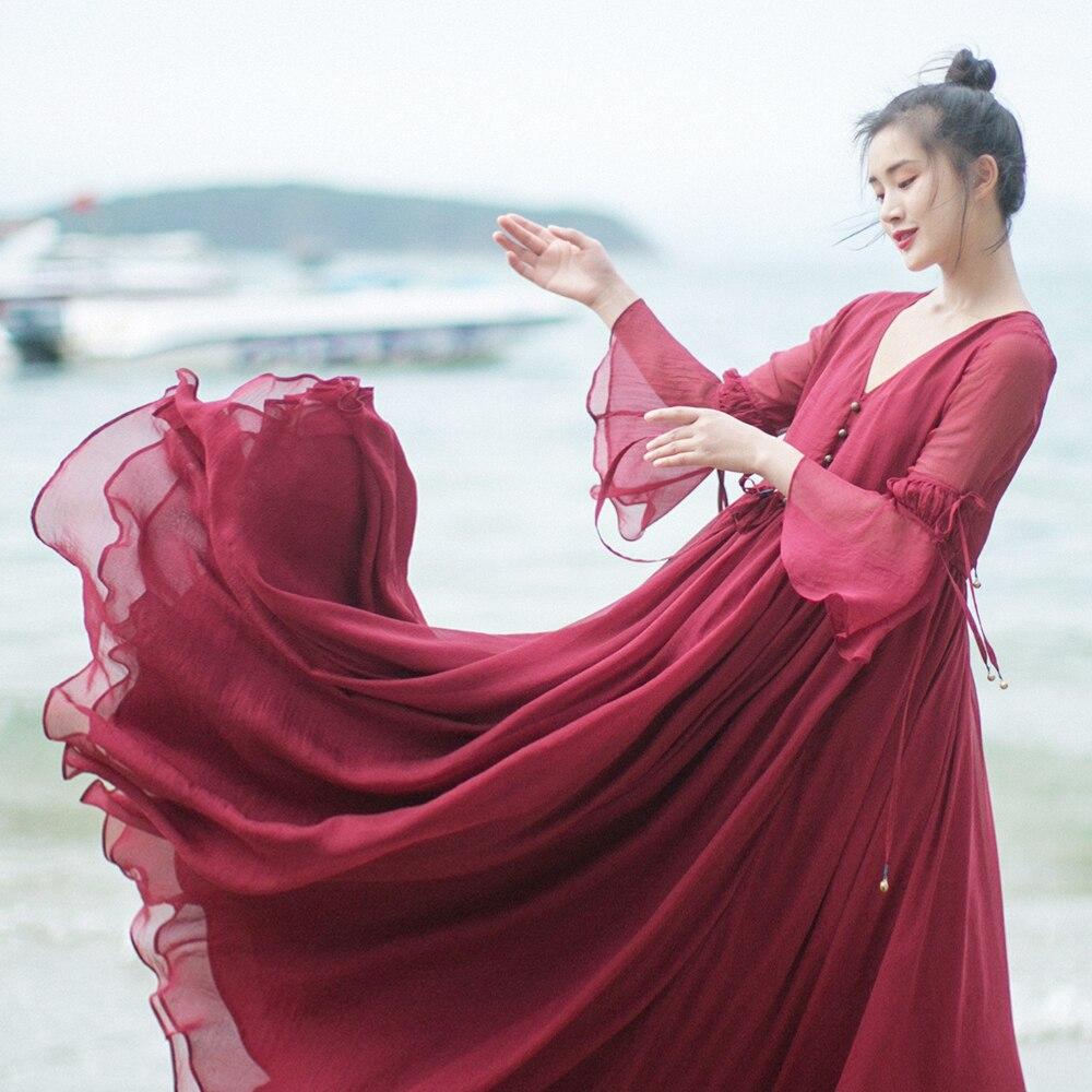 MM154 nouveauté été 2017 femmes vintage rouge trois quarts manches longues maxi grand fond décontracté robe de plage en mousseline de soie