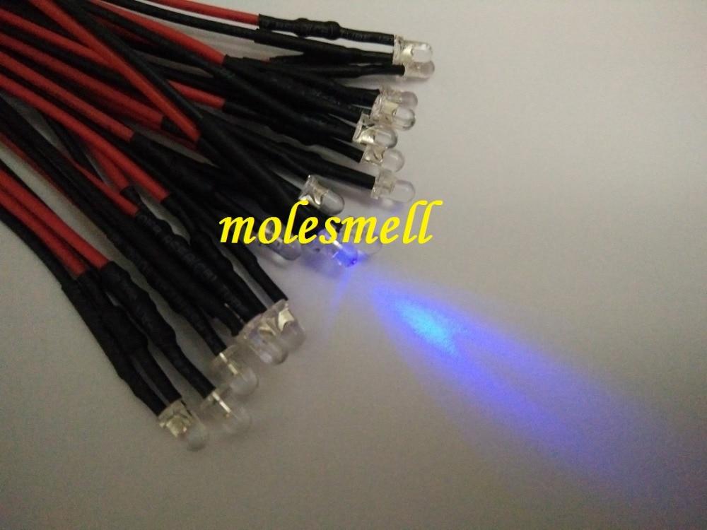 50pcs 3mm 24v Purple 24VDC LED Lamp Light Set 20cm Pre-Wired 3mm Uv Led 24V DC