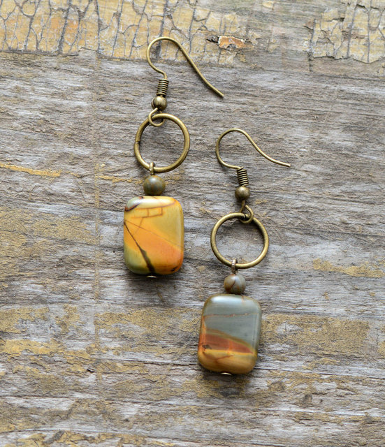 Womens Earrings Vintage Natural Stone Dangle Earrings Designer