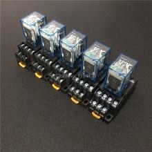 Мини реле постоянного тока MY4NJ HH54P, 5 комплектов, 12 В, 24 В, 110 В, 220 В переменного тока, катушка питания, Универсальный мини реле, 14 контактов, 5A с гнездом PYF14A