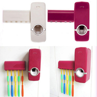 Automatic Toothpaste Dispenser + 5 Toothbrush Holder Set Wall Mount Stand toothbrush Family sets ZX071 1