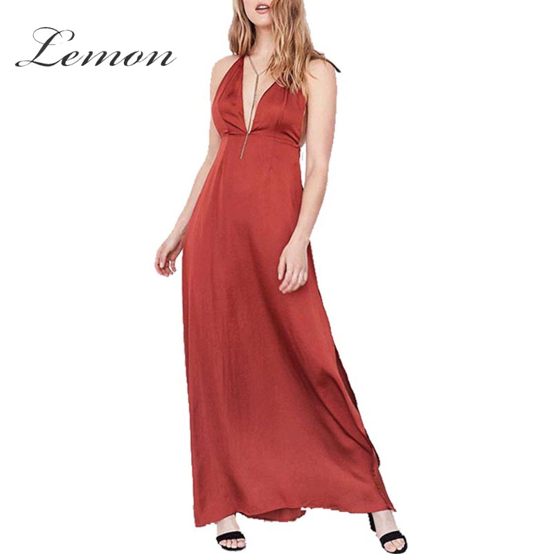 Lemon Autumn Side Split Spaghetti Strap Ankle Dress Reddish Orange Deep V Neck Backless Party Dress Sexy Sleeveless Women Dress