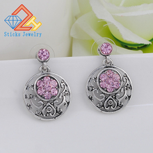 (1pair / lot) Plated Ancient Silver Alloy Retro Hollow Lady Earrings