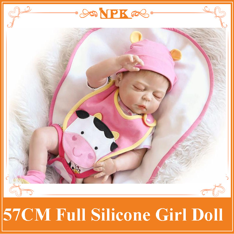 NPK Full Body Silicone Reborn Baby Doll Toy For Girls 22 Girls Newborn Babies Doll Bedtime Play House Bathe Toy Birthday Gift npk 22inch reborn dolls full silicone doll reborn baby toys for girls birthday gift silicone reborn babies with fashion clothes