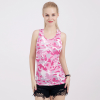 Fashion Woman Clothes Summer Fitness Knitted Net Cloth Tank Top New Camouflage T Shirt Model Women