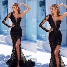 Черное платье на одно плечо вечернее черное с длинным рукавом