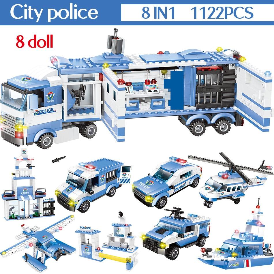 1102-1122 pces cidade polícia estação blocos de