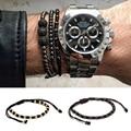 2016 Anil Arjandas Pave Rose Gold 4mm Round Beads Braided Macrame Bracelet Luxury Bracelets Mens &Womens New Style Accessories