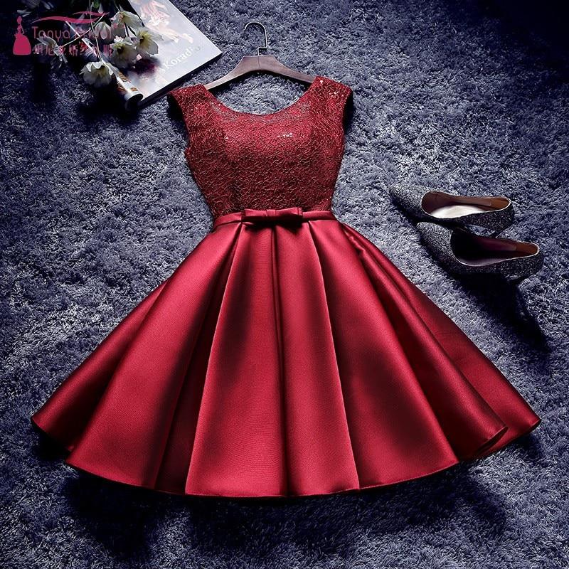 Burgundy Bridesmaid Dresses Short Knee Length Elegant Dress Women For Wedding Party New Years Eve Dress  JQ29