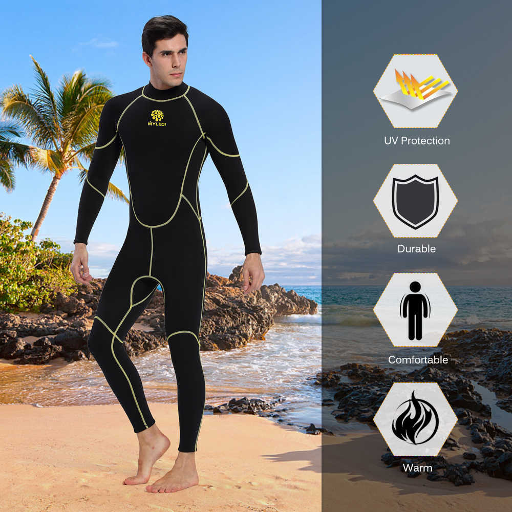 Mannen Duikpak 3mm Terug Zip Full Body Wetsuit Warme Uv-bescherming Zwemmen Surfen Snorkelen Pak Neopreen & Nylon S-XXL