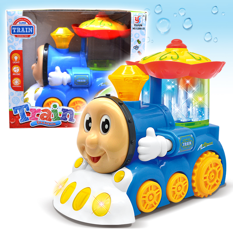 Electric fountain Train Toys With Light And Musical Movable Eye Mouth Brinquedos Cartoons toy car Gift Children Kids Present