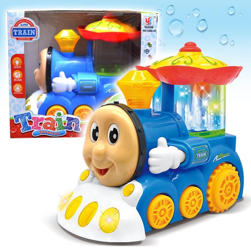 Fonte elétrica trem brinquedos com luz e musical móvel olho boca brinquedos desenhos animados brinquedo presente do carro crianças presente