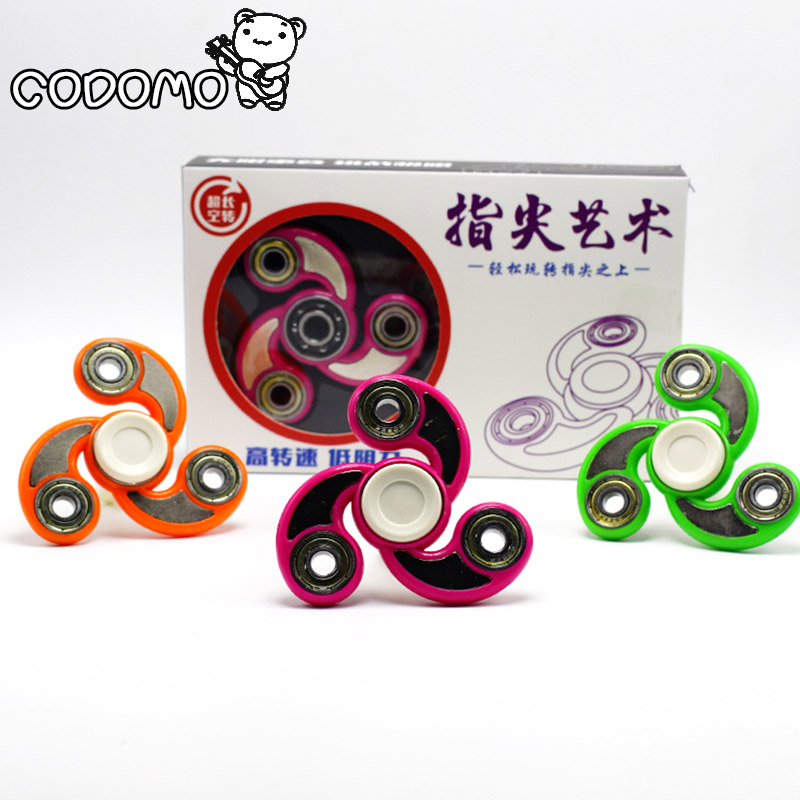 Color Cyclone pattern hand spinner toys 2017 plastic material fidget spinner metal bearing finger spinner toy