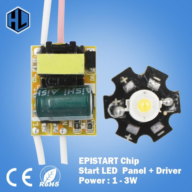 Wholesales! 100PCS 1W 3W LED Star high power led chip board panel + AC 100-240V led powe ...