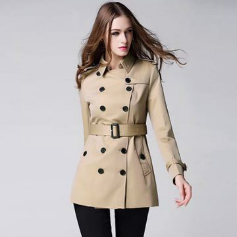 Fashion Vintage British Style Trench For Women Double Breasted 2019 Spring Autumn Designer Sashes Female Slim