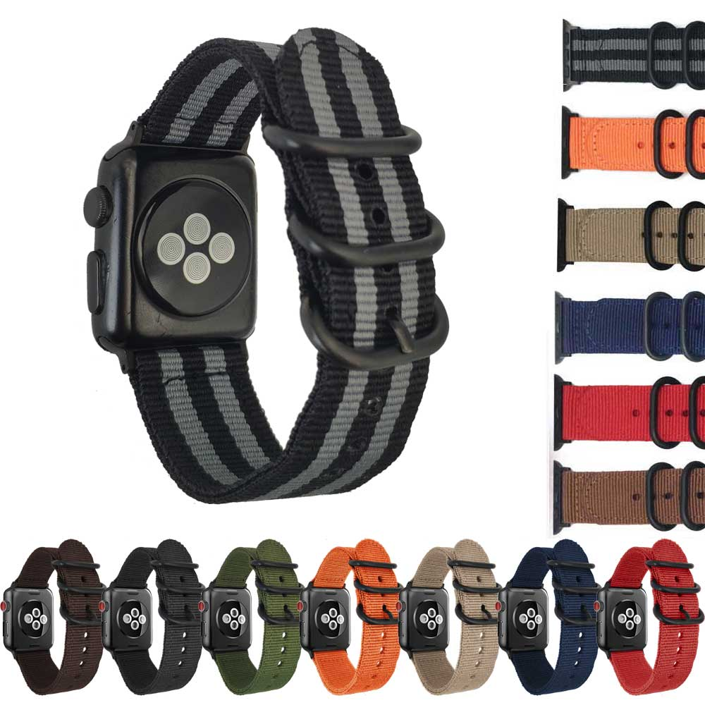 40mm 44mm NATO Nylon Watch strap for Apple Watch band 42mm iWatch 4/3/2/1 Strap 38mm with Zulu Rings Buckle Adapters Watchbands nato nylon watchbands for apple watch band 42mm 38mm iwatch strap series 1