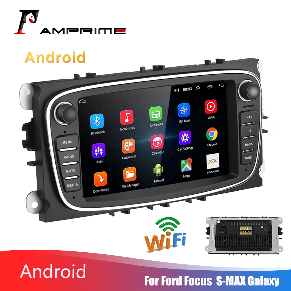 AMPrime 2 Din Car Multimedia player 7 Car Radio Android GPS Wifi Autoradio Mirrorlink FM USB For Ford/Focus/C-Max/Mondeo/Galaxy image