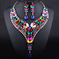 Fashion African Dubai Jewelry Gold Plated Horse Eye Crystal Long Necklace and Drop earrings Jewelry sets
