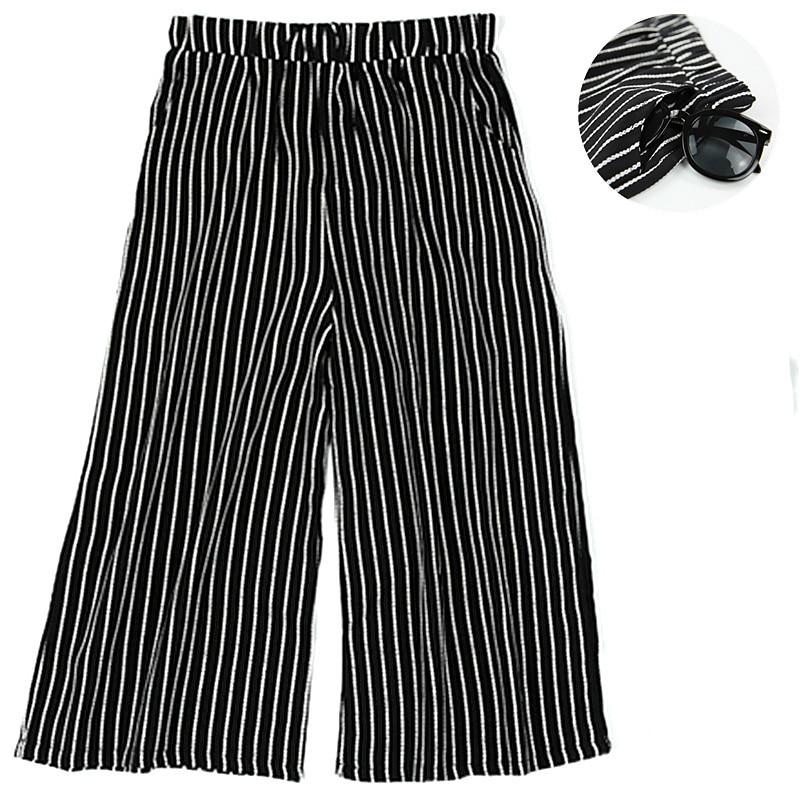 Vacaciones De Estilo Pantalones Rayas Suelto A Primavera Playa Pierna Verano Mujer Ancha Seda pantorrilla Natural Yqn8Rfw